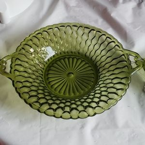 Set of 2 Indiana glass honeycomb green candy dish